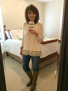 "Today I'm styling a lace and denim. I have already worn this lace top twice and I love it! Before I share my outfit, I wanted to share a little bit of the ""why"" I work with Glamour Farms."