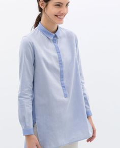 Image 2 of CONTRASTING OVERSIZED SHIRT from Zara