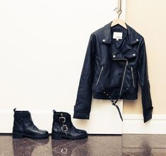 """Dancer Designer Maddie Zeigler Closet:""""I think a standout piece [from the collection] would probably be the leather moto jacket. I love it. I think it's so cool to have a leather jacket. It's super cute and it's really appropriate for kids, because it's not too adult-looking.""""-- Leather jacket and buckled boots. 