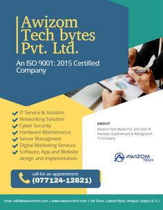One Stop Solution For all Your Technical Services Contact Today & Get Special Discounts  Awizom Tech Bytes Pvt. Ltd. 5th Floor, Capital Plaza, Devpuri, Raipur, Chhattisgarh www.awizomtech.com  #awizom #awizomtechbytes #raipur #chhattisgarh #website #software #mobileapp #cybersecuirty #morraipur #digitalchhattisgarh #technical #IT #startupchhattisgarh Website Software, Digital Marketing Services, Mobile App, Tech, Floor, Ads, Pavement, Boden, Mobile Applications