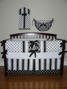 Custom Crib Baby Bedding 5pc Set Black by CustomBabyCreations. $279.00 USD, via Etsy.