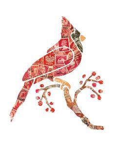 Cardinal with Red Berries - Postage Stamp Collage Old Stamps, Vintage Stamps, Collages, Collage Art, Paper Mosaic, Karten Diy, Postage Stamp Art, Mail Art, Bird Art
