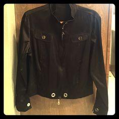 Black satin jkt Stylish black satin short jacket with silver buttons and zipper Barbara Lesser Jackets & Coats