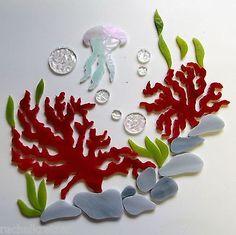 Nautical Wall Art Set of 2 -Iridescent Seascape Mosaic Inlay Coastal Beach Stained Glass Kit MINI JELLYFISH Precut Art