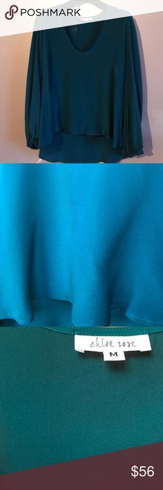 Chloe Rose Turquoise Silk Top Beautiful Silk Top by Chloe Rose. Absolutely New without a tag. Size M. Beautiful Fit. Made in Manhattan. Chloe Rose Tops Blouses