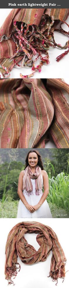 "Pink earth lightweight Fair Trade cotton scarf wrap shawl - handmade - brown mauve white green tan. Handwoven lightweight scarf. 100% Viscose, 43x70"". Handmade by talented artisans in developing countries and includes an artisan story card. Fair trade."