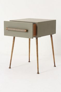 Sisu Nightstand by Anthropolgie   could maybe make this with a box drawer and find some vintage legs to attach without spending 698.60 and that's the sale price.
