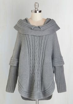 Bonfire Season Sweater in Ash. This grey sweater has a special spot at the front of your wardrobe, for you know you'll pick its thick knit to sport at every friend's fireside invitation! #grey #modcloth