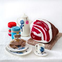 knitted teapot, tableware, peanut butter, ham and croissant