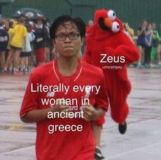 Dibujos Percy Jackson, Percy Jackson Memes, Percy Jackson Books, Greek Mythology Humor, Greek And Roman Mythology, Greek Gods, Greek Memes, Images Kawaii, Funny Jokes