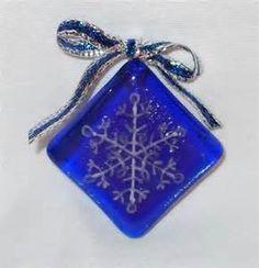 Fused Glass Snowflake Ornament