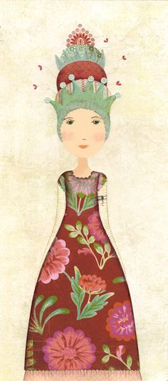 """artist, Katherine Quinn    """"Olive is always making things… sewing, gluing, cutting, drawing, designing. She makes all her sisters dresses and has got plans for some new hats for her Uncle who is the King of a small costal land. Olive would also like to design some outfits for the dark beast, much to the horror of her sisters."""""""