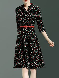 Black Vintage Floral Print Polyester Midi Dress
