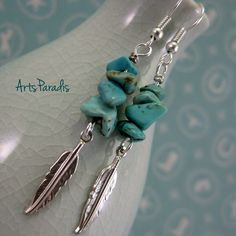 Southwestern Turquoise Natural Stone Chip and Feather Charm Dangle Earrings by ArtsParadis