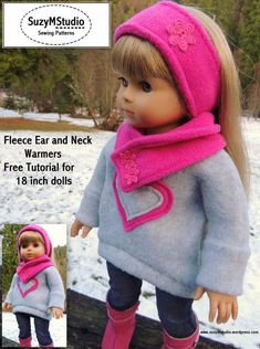 Free Tutorial Ear and Neck warmers for American Girl doll. SuzyMStudio