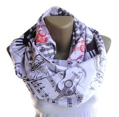 Music note scarf , music note infinity scarf / guitar print scarf / print scarf / women  men eternity scarves / red and brown on Etsy, $19.00
