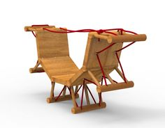 FÆTLAWhen feeling bored sitting on a flat bench, Fætla can be changed into a rocking chair. By pulling two rope ends and tying them down the bench will curve into a rocking chair.Made out of wood, cork and rope.Led by:Pedro Feduchi