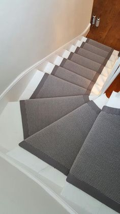 Grey Carpet Runner to Stairs: Carpet Stair Treads, Carpet Stairs, Basement Carpet, Hallway Carpet, Hallway Flooring, Basement Walls, Bedroom Carpet Colors, Staircase Makeover, Staircase Remodel