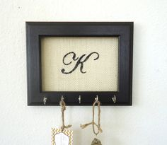 Key Holder Wall Hook Personalized Gift Frame French Country Decor Hand Painted 5 Hooks