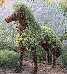 Medium Mossed Horse Topiary
