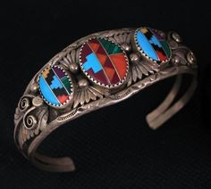 Vintage Old Pawn Navajo handmade Sterling Turquoise Spiny Oyster Inlay Bracelet