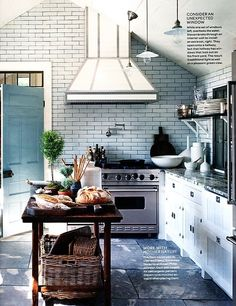 vintage island, white subway tile with dark grout