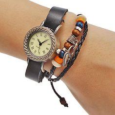 Unisex+Black+Weave+Leather+Band+Quartz+Analog+Bracelet+Wrist+Watch