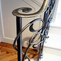 The newel post has an almost sculptural quality