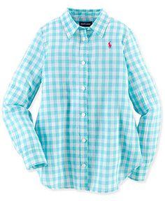 Ralph Lauren Girls' Cotton Gauze Long-Sleeved Gingham Top - Kids Girls 7-16 - Macy's