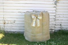 Burlap Keg Bag with Lace Bow-  Rustic country wedding decor on Etsy, $35.00