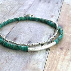 Real Turquoise Bead Bracelet, Stretch Sterling Silver Tube Bracelet, Genuine Turquoise Jewelry, Minimalist Blue Green Gemstone Bracelet