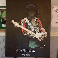 One of my paintings at irish record fairs CD and vinyl weekend record fair event in the CIE hall library square inchicore. Bob The Builder, Iconic Movies, Jimi Hendrix, Irish, Studios, Vibrant, Paintings, Disney Characters, Irish Language