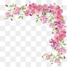 La frontera de pequeñas flores frescas pintadas a mano, Pintado A Mano, Flor, Pink Imagen PNG