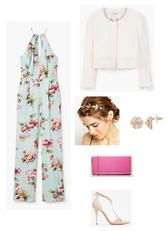 Light blue floral jumpsuit+nude ankle strap heeled sandals+white jacket+golden headdress+gold floral earrings+pink clutch. Spring First Communion Guest Outfit 2016