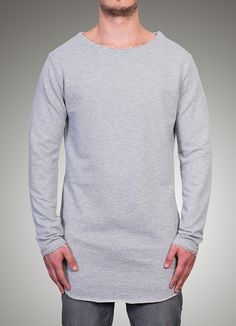 Image of Oversize Frayed Sweat - Grey
