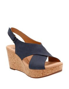 004c98d0be79  clarks  shoes   Navy Wedge Sandals