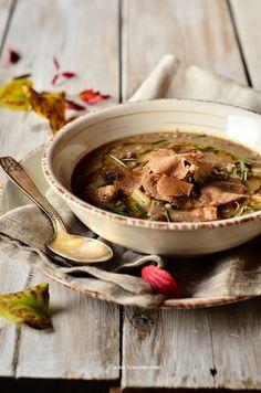 Zuppa di cerali con funghi, castagne e tartufo bianco di Città di Castello