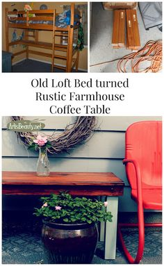 ART IS BEAUTY: Old Kids Loft Bed TURNED Rustic Vintage Style Coffee Table