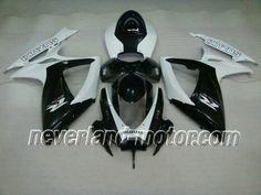 SUZUKI GSX-R 600/750 2006-2007 K6 ABS Fairing - Black/White #2007gsxr750fairings #2006gsxr600fairings