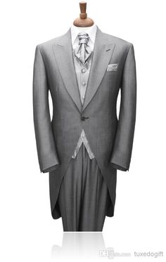 CUSTOM MADE TO MEASURE Tailored Men's BESPOKE Tuxedos/ Tails,grey Men Suit Tailcoat, Men Wedding SuitJacket+Pants+Vest+Tie+Pocket Square Online with $93.21/Piece on Tuxedogift's Store   DHgate.com
