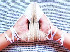 IBIZA Lace Up Espadrilles Organic Cotton Women by IBICENCAS #espadrilles #wedge #hippie #sandals #shoes #wedding #handmade #summer #clothes #beach #white