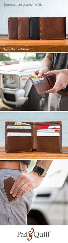 Meet the Journeyman leather wallet for men. It is a bifold wallet made from full grain leather with a 10 year guarantee! http://www.padandquill.com/leather-wallets/journeyman-leather-wallet.html