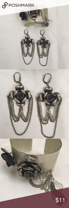 Arden B edgy flower jewelry Edgy bracelet and earring set. Create a bundle for a discount! Arden B Jewelry Bracelets