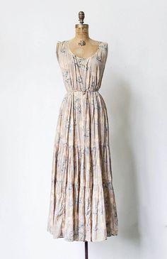 vintage 1970s tan floral maxi tiered boho dress