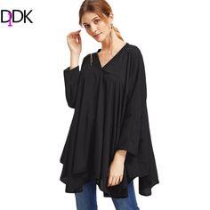 DIDK Korean Women Clothing 2016 Women Fashion Loose Tops and Blouses Black V Neck Long Sleeve Asymmetric Hem Blouse