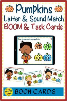 Are you looking for some pumpkin upper & lowercase letter recognition and sound practice? Check these BOOM & Task cards out! The set includes matching upper and lowercase letters, along with match the beginning sounds of each letter. The resource includes both Boom and Task cards along with a list of games to be played with the student to practice letter recognition and sound identification skills. #Halloween #pumpkins #letters #sounds #soundsymbol #letterrecogntion #theteachingscenebyma