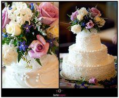 white wedding cake with flower topper.  borterwagner photography    borterwagner.com