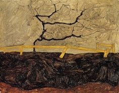 Bare Tree behind a Fence by Egon Schiele, Oil painting reproductions Gustav Klimt, Wassily Kandinsky, Egon Schiele Landscape, Oil Painting Gallery, Bare Tree, Oil Painting Reproductions, Monochrom, Autumn Trees, Vincent Van Gogh