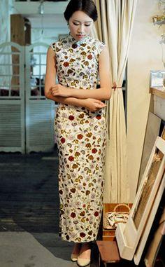 Retro Sleeveless Linen Chinese Dress.Cheongsam by RockRollRefresh, $68.00