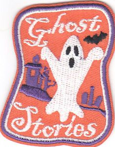 """GHOST STORIES"" PATCH - Iron On Embroidered Applique/Autumn, Halloween"